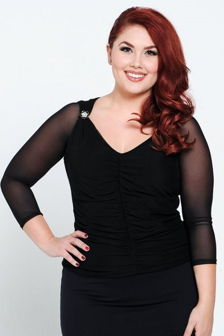The AMAZING, plus size reversible instant sleeves, 3/4 Sleeve Mesh Half Top at lucyclothing.ca !