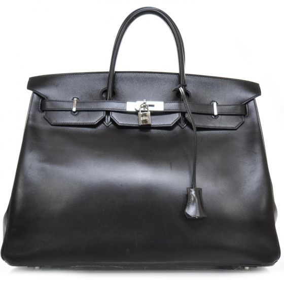 HERMES Box Calf Leather Birkin 40 in Black.