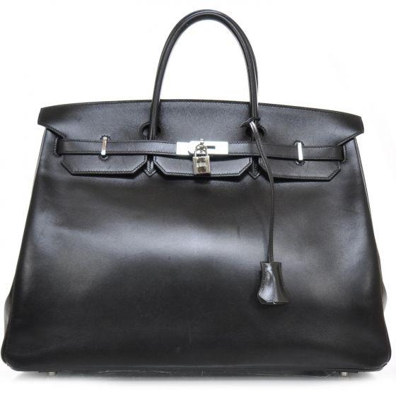 HERMES Box Calf Leather Birkin 40 in Black.