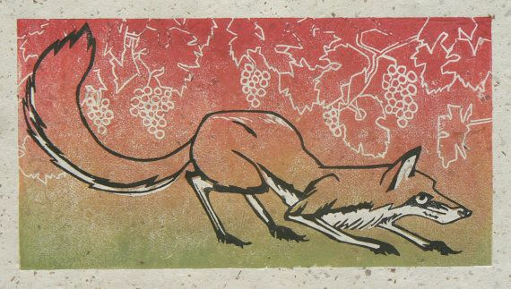 Fox Linosnede afdrukken van StripedPebble op Etsy