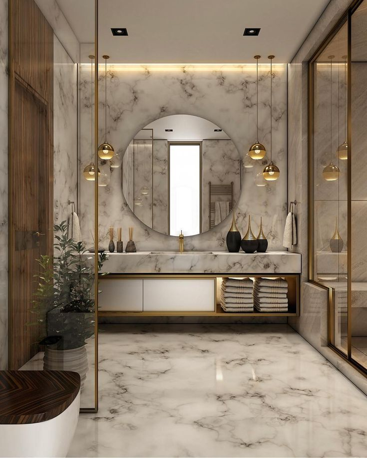 How Gorgeous Is This Gold And Marble Bath Simply Love It Picture Via Behance Luxuryho ห องน ำหร บ าน ห องน ำ