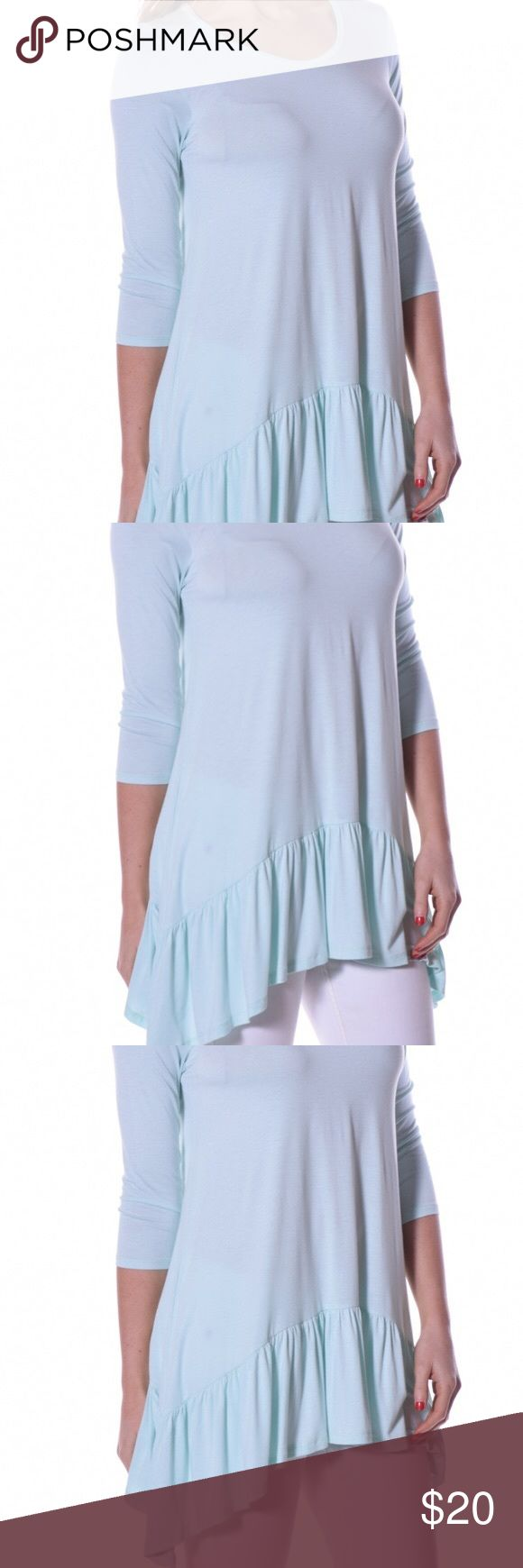 Asymmetrical Tunics! Ballerina Asymmetrical Tunic for sale . Material Content: 95% Viscose 5% Spandex. Made in the USA. Blue available Pastels Clothing Tops Tunics