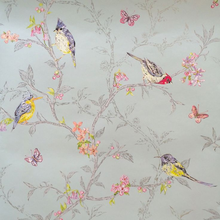 This Fabulous Shabby Chic Style Statement Wallpaper From Holden Decor  Features An Ornithology Theme. Brightly Coloured Hand Painted Birds On A  Branch Design ...