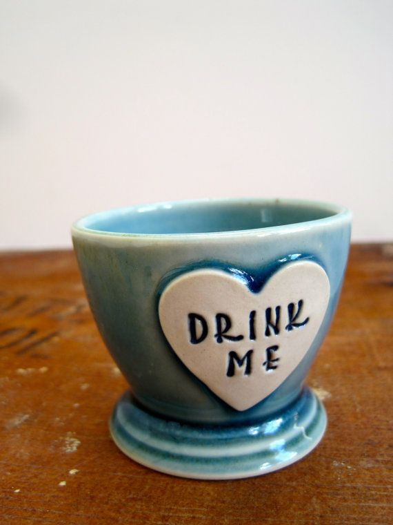 Alice in Wonderland Shot Glass 'Drink Me' heart by ArtHausCeramics, $16.00