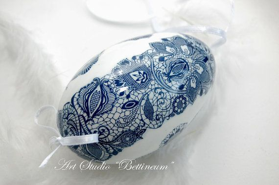 Easter egg with embroidery Richelieu  Easter egg with by Bettineum, $25.00