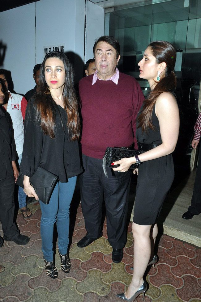 Karisma Kapoor and Kareena Kapoor with their father, and birthday boy, Randhir Kapoor. #Bollywood #Fashion #Style #Beauty