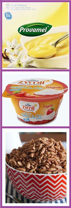 Collage di immagini di budini di soia alla vaniglia, yogurt zymil alla greca e cereali soffiati al cacao