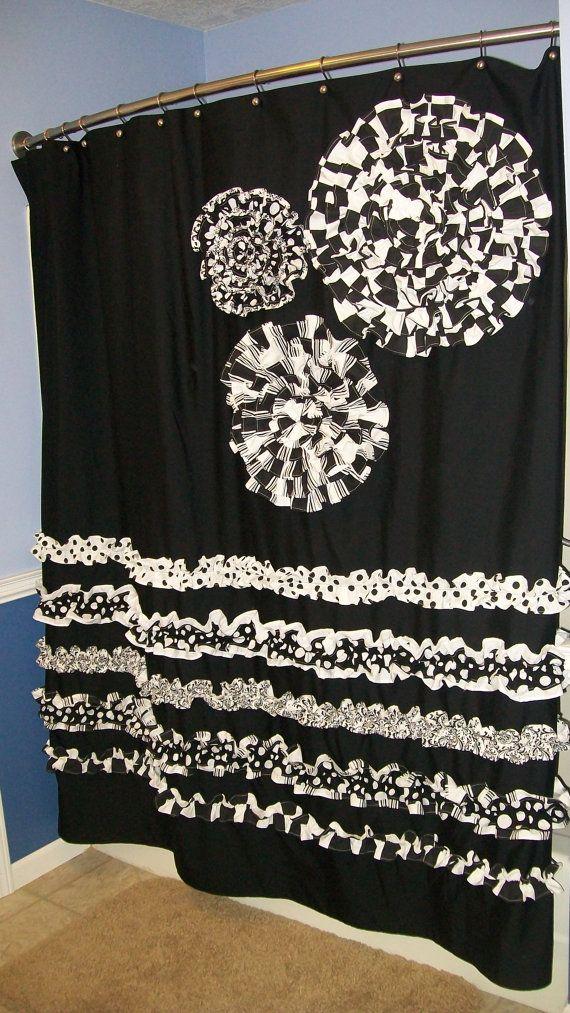 Shower Curtain Custom Designer Fabric Ruffles Flowers Hot Pink Black Gray Whi