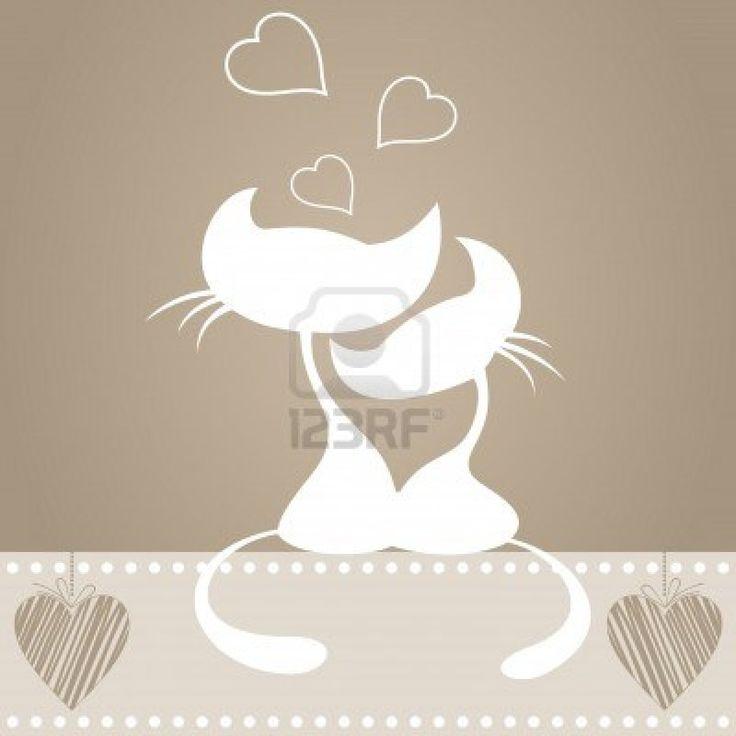 Enamoured chat et chat sit. Une illustration vectorielle Banque d'images - 9229072