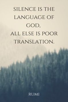 """silence is the language of god,  all else is poor translation.""  ― Rumi"
