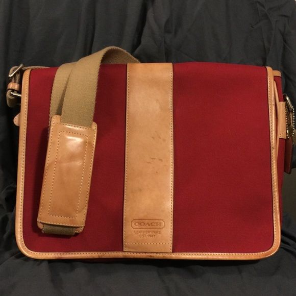 """Coach Messenger Bag Red Tan Leather Unisex You know what this would be good for? Holding the new MacBook (12""""). Know what else? The iPad pro. May even be able to hold the 13"""" MacBook Pro (not sure.. Don't have one to measure). It will not fit a 15"""" computer. This bag is awesome. A little scuffing on the leather, but it looks like that's how it is supposed to be. VERY STURDY bag. This one will last forever. Very nice red and tan -- could be used by male or female. Bought it for my fiancé, but…"""