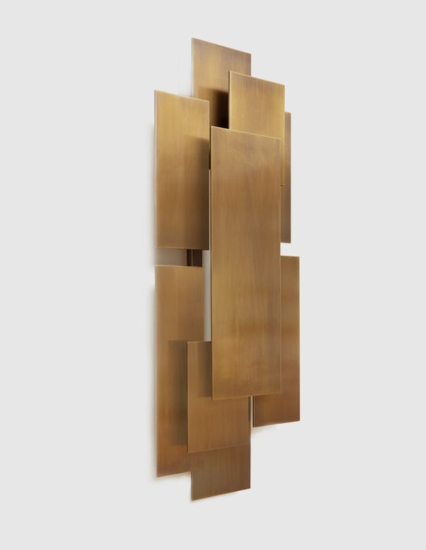 PARNES | TWO IS COMPANY Handmade sconce with layered rectangular panels in oxidized bronze and opaline glass.