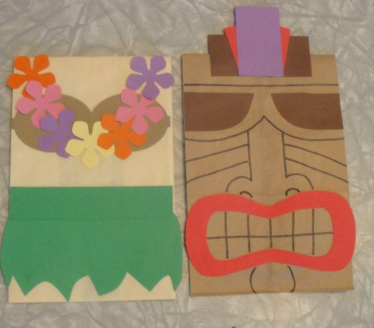 Hula Girl and Tiki Treat Sacks - Tropical LUAU Beach Theme Birthday Party Goody Bags by jettabees on Etsy. $15.00, via Etsy.