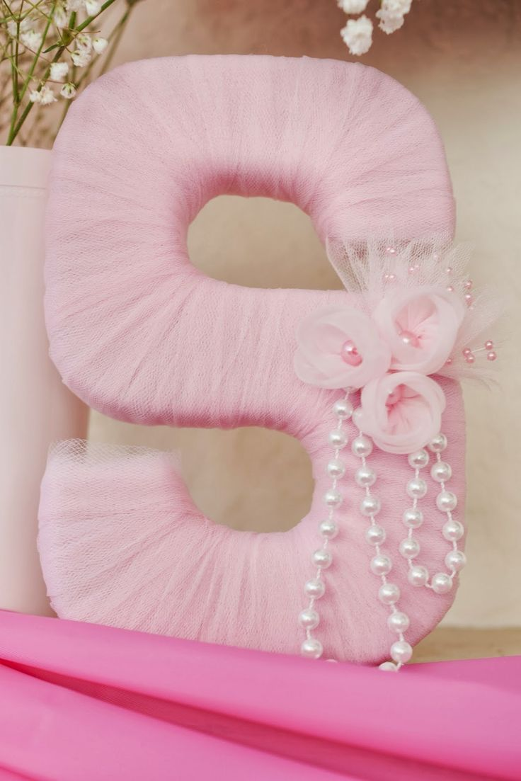 """Tutu Thrilled"" Baby Shower. Cardboard letter from Hobby Lobby wrapped in tulle"