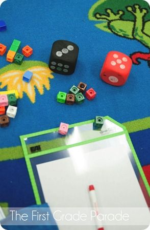 Subtraction Game!  All you need is dice, snap cubes, and dry erase markers!