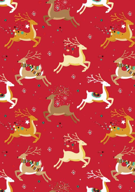 FREE printable Christmas scrapbook paper - reindeer design