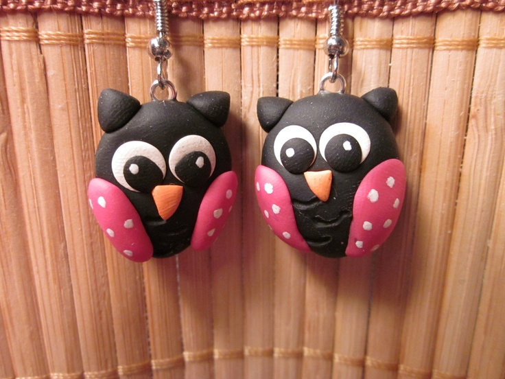 "Another great pair of earrings; they're larger than they look in the photo (the owls are close to 1"" tall)    Handmade polymer clay black and pink polymer clay owl earrings"