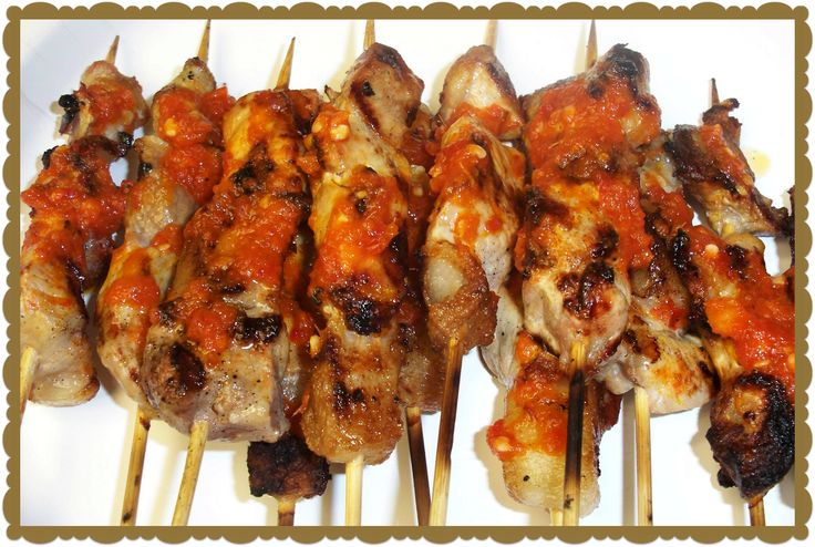 Manadonese Pork Satay. It's same like usual satay. You grill it but this one it's spicy and don't need nut sauce
