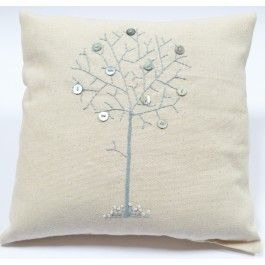 Linen Cushion Button Tree