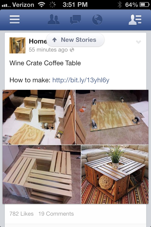 Wine crate Coffee table. I already pinned the coffee table but this pin is better because it has directions. So neat!
