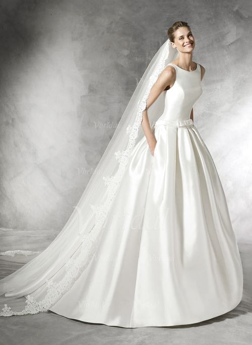 Wedding Dresses - $231.14 - Ball-Gown Scoop Neck Chapel Train Satin Wedding Dress With Bow(s) (0025093721)