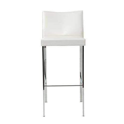 Riley White Leather Bar Chair, Set Of Two Euro Style Bar Height (28 To 36 Inch) Bar Stools