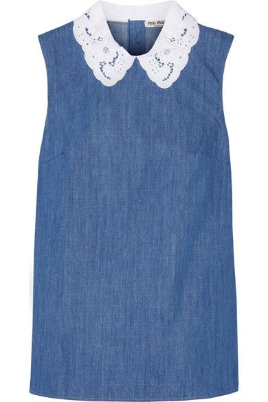 Miu Miu - Broderie Anglaise-trimmed Cotton-chambray Top - Mid denim - IT