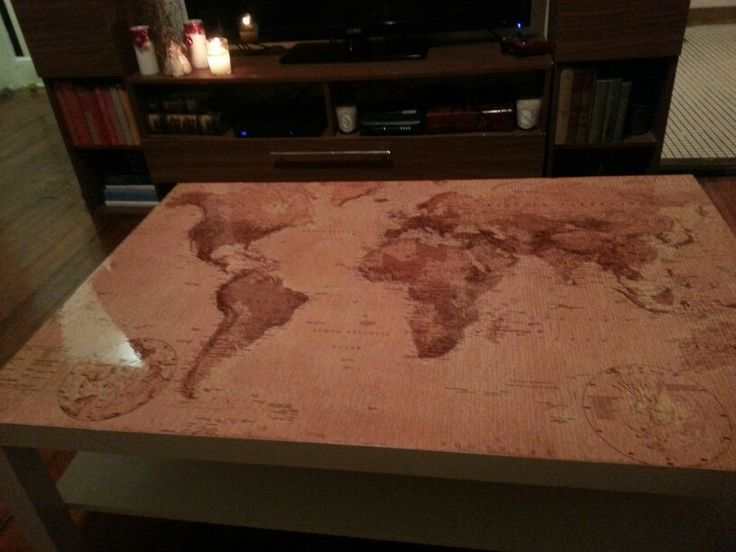 refinished coffee table with antique world map top