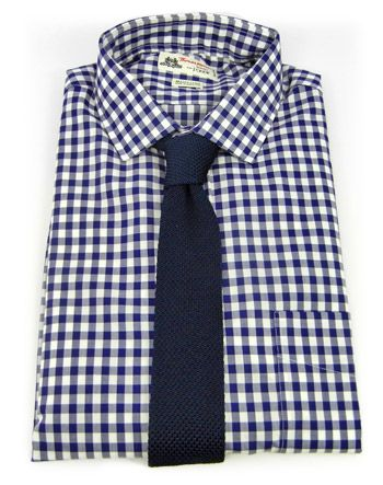 Example of what could be our look? Navy gingham with a midnight navy knit tie.