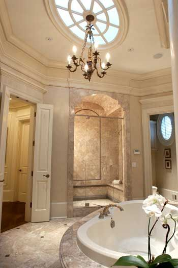 Luxury Bath by Spitzmiller & Norris. Love the tub and bench shower.