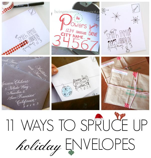 11 ways to spruce up a plain white Christmas card envelope!