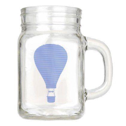 Air balloon -strips - blue. mason jar - mason jars gifts ideas presents