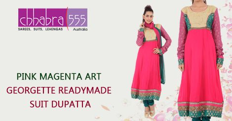 Addition of over 25 new designs every day, select PINK MAGENTA ART GEORGETTE Ready made Suit Dupatta in @ $203.95 AUD from Chhabra555 that will give you stunning look on any occasion in Australia.