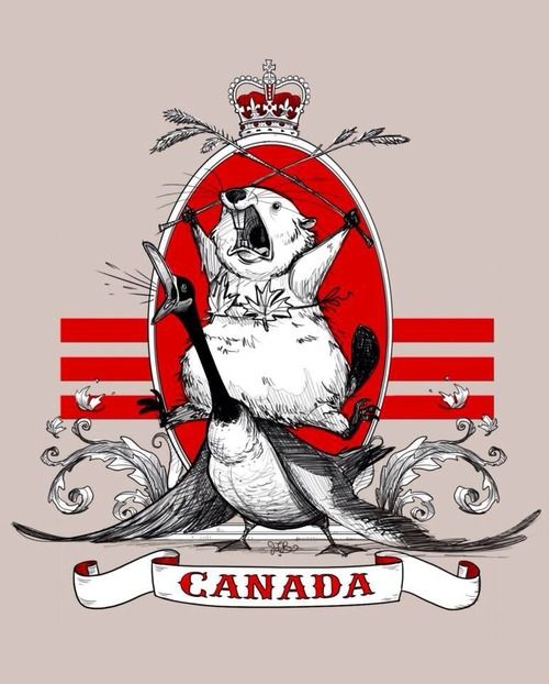 mollywoodsquares: The majestic Canadian beaver, riding a goose while wearing a maple leaf bikini.Happy Canada Day!