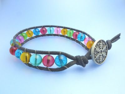 Two tutorials which show the different ways to make the wildly popular bead and leather wrapped bracelet.
