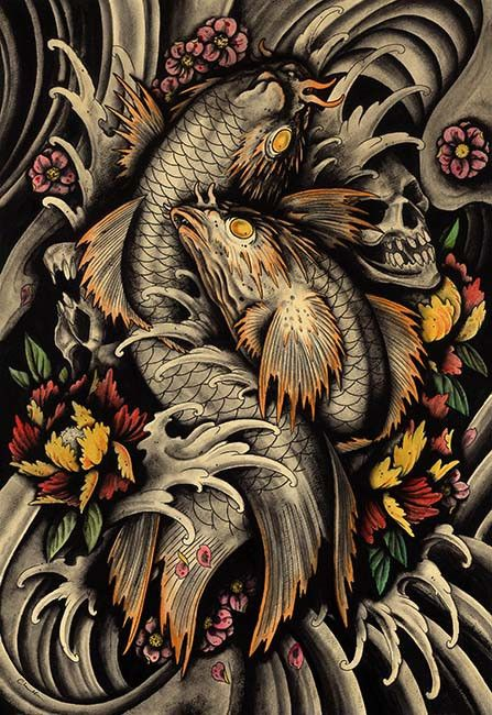 Transition Of Life by Clark North Koi Pond Skulls Tattoo Art Print
