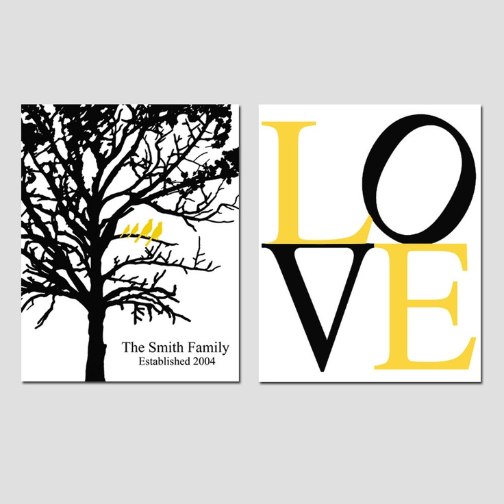 Family Tree Love Duo - Set of Two 8 x 10 Customizable Prints - Established Family Tree and LOVE Typography- Black, Yellow, Gray, White. $39.50, via Etsy.