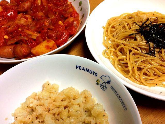アンチョビ、海苔のパスタ ウィンナー、じゃがいも、玉葱のトマト煮 タラモサラダ - 22件のもぐもぐ - 2012.11.21夕ご飯 by amagishinjyu