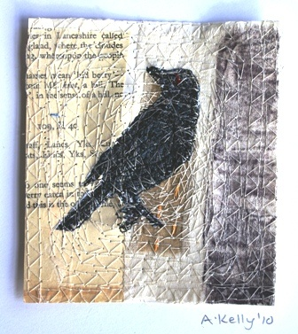 'Crow Picture' small embroidery, found materials  (sold)