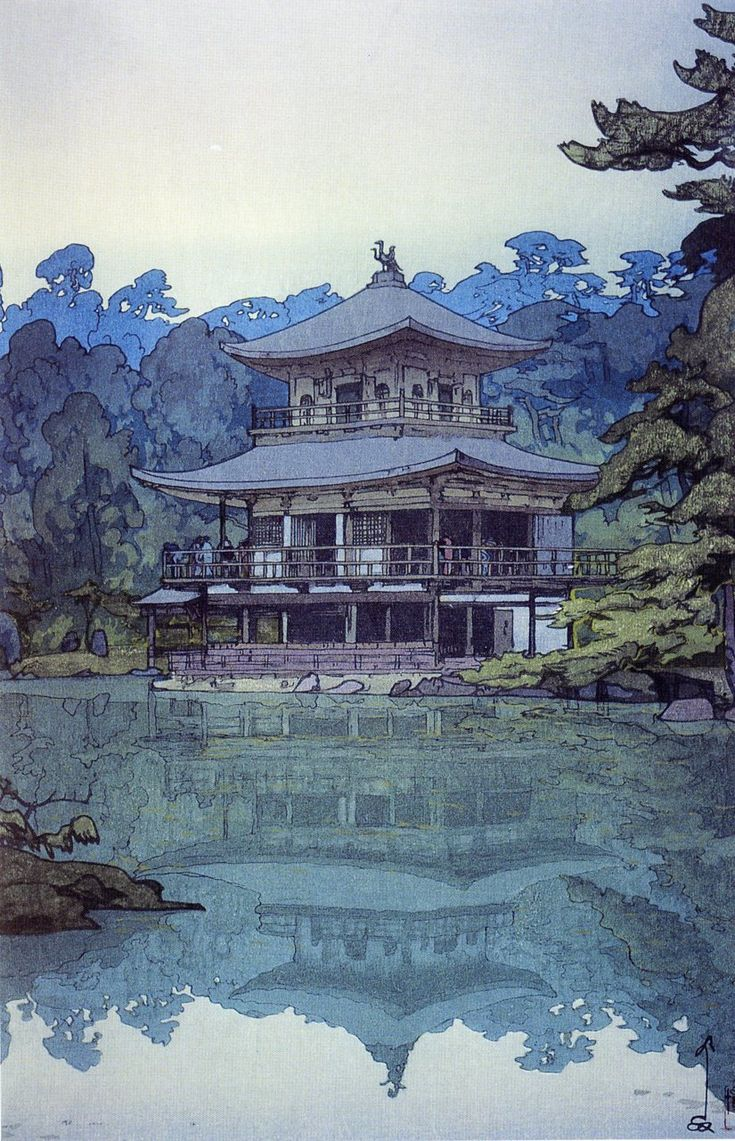Japanese Ukiyo-e: Golden Pavilion. Hiroshi Yoshida. 1933