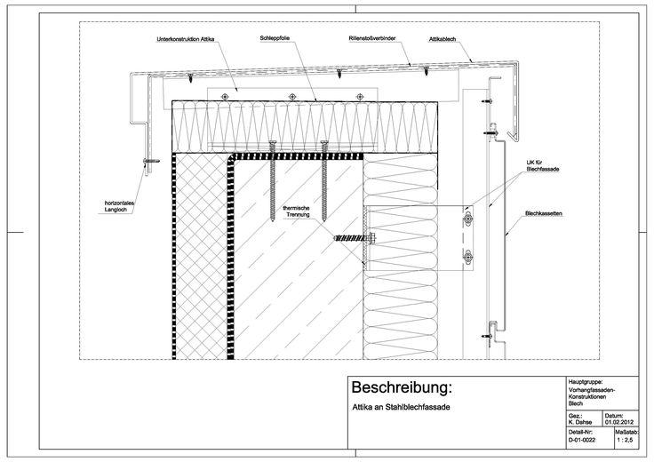 D-01-0022 Attika an Stahlblechfassade | Glas/alu-facader | Pinterest