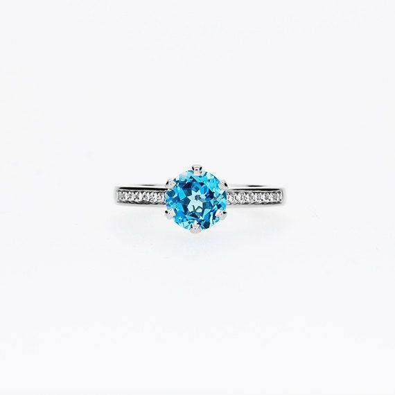 Petite Crown ring with Swiss Blue topaz in Platinum