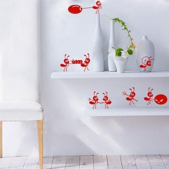 New Qualified Window Stickers Cute Small Ants Stickers Children Cartoon Wall Decal Stickers Mirror Levert Dropship dig6329