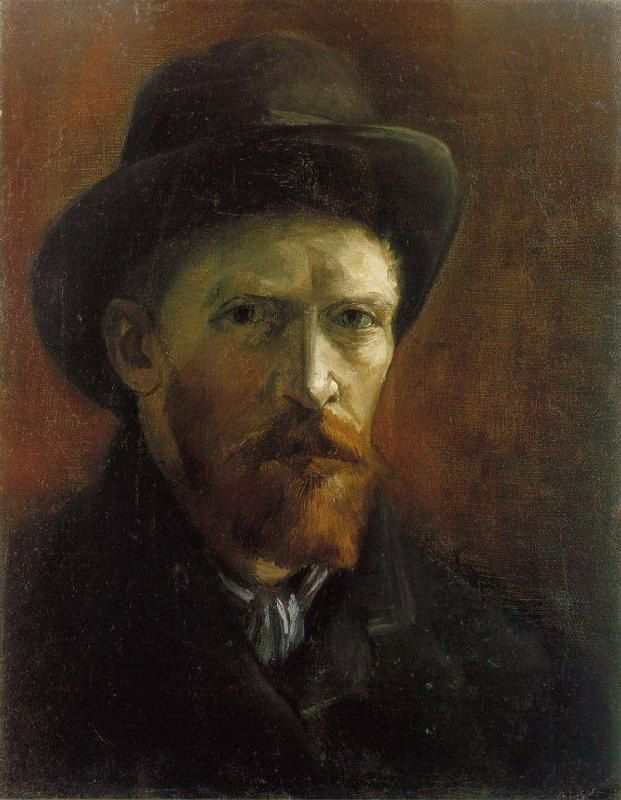 Vincent van Gogh: Self-Portrait with Dark Felt Hat. Oil on canvas. Paris…