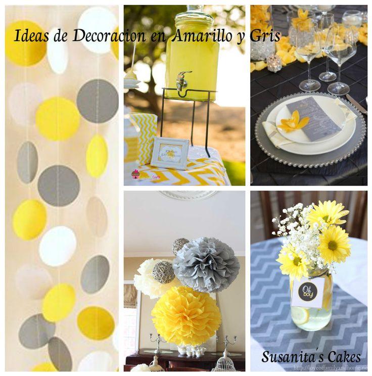 Ideas de decoraci n en colores amarillo y gris ideas - Fiestas de cumpleanos para adultos ...