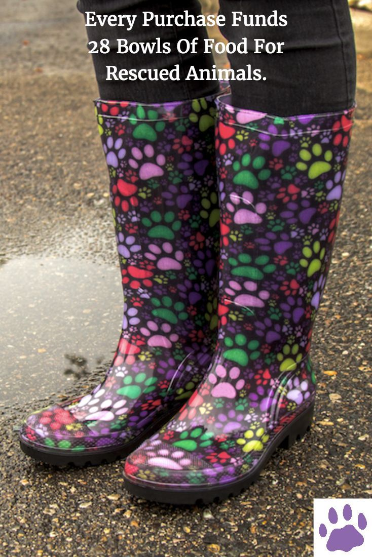 Every Purchase Funds 28 Bowls Of Food For Rescued Animals. Facing puddles galore on your daily commute? Our lightweight rain boots patterned in neon rainbow paw prints keep your own paws dry. Thick traction soles help guard against slipping when it's slick, too!
