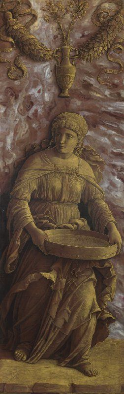 """Andrea Mantegna, c.1431-1506, Italian, The Vestal Virgin Tuccia with a sieve (part of """"Two Exemplary Women of Antiquity""""), c.1495-1506. Tempera on poplar, 72.5 x 23 cm. National Gallery, London. Early Renaissance."""
