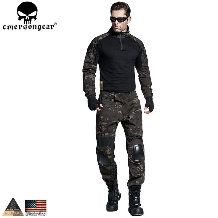 EMERSONGEAR Airsoft BDU Tactical Uniform Combat Shirt Pants with Elbow Knee Pads Military Hunting Clothes Multicam Black EM6971 #Affiliate