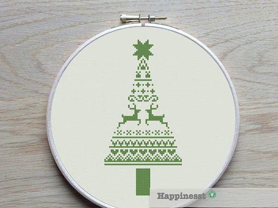 christmas cross stitch pattern, modern christmas tree,  nordic folk art, PDF, ** instant download**