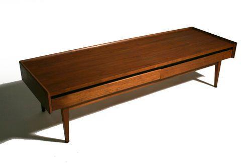 50 39 S Mid Century Danish Modern Dillingham 2 Drawer Coffee Table Bench Ebay Design For The